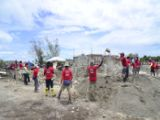 Volunteers build disaster-resilient houses at Santa Fe, Bantayan Island in March 2014