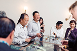 Guests interacting with Asia's first tactile multi-touch table
