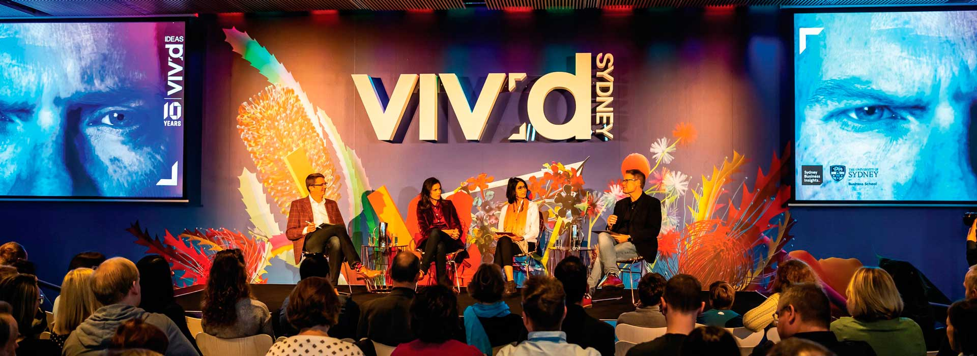 A panel of experts is joined by a photo-realistic-computer-generated-digital person on stage to discuss the ethics of 'digital humans' for Vivid Ideas 2018